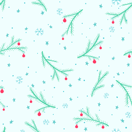 Seamless Christmas pattern with decorated conifer branches, stars and snowflakes.