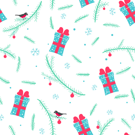 Christmas seamless pattern with presents, conifer branches, bullfinches and snowflakes
