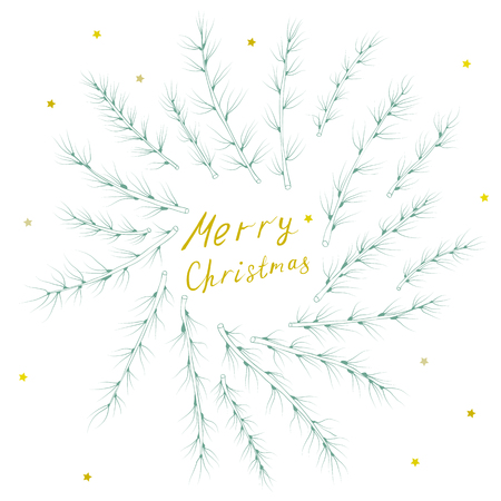 Christmas card with hand drown conifer branches and lettering