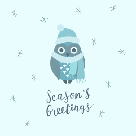 Christmas card with cute owl, wearing hat and scarf, and hand written lettering, Christmas design elements