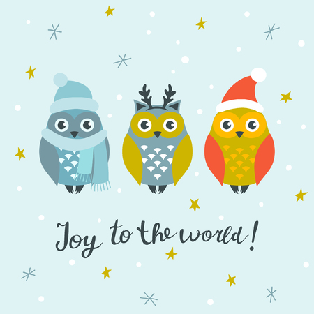 Christmas card with cute owls and hand written lettering, Christmas design elements