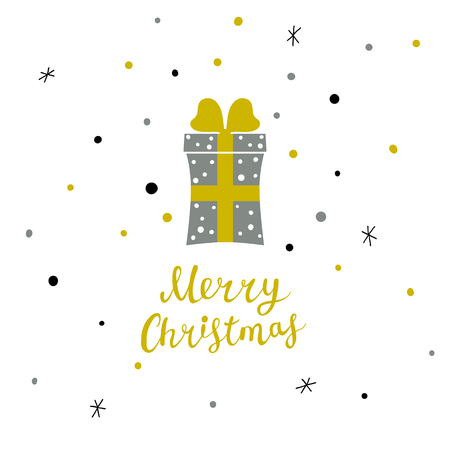 Christmas card with Christmas present and hand written lettering, Christmas design elements Illustration