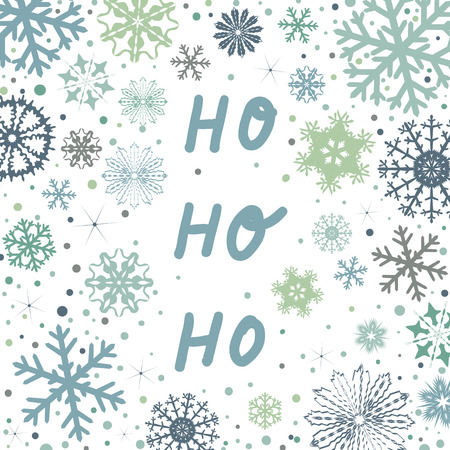 Christmas greeting card with snowflakes and hand written ho ho ho quote