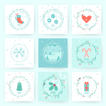Set of 9 Christmas greeting cards with winter landscape, Christmas tree, sock, heart, candies, christamas decorations and other hand drawn elements