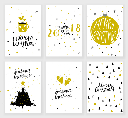 Set of 6 Christmas greeting cards with hand drawn decorative elements and lettering 向量圖像