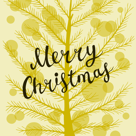 Christmas greeting card with hand drawn lettering and pine