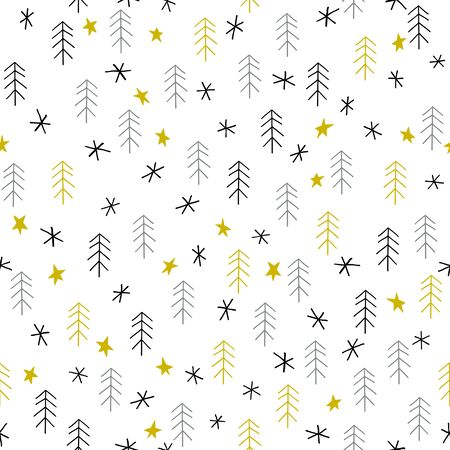 Seamless Christmas pattern with trees, stars and snowflakes