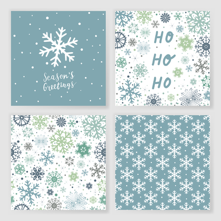Set of 2 Christmas greeting cards and 2 seamless patterns