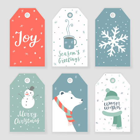 Set of 6 Christmas tags with hand drawn decorative elements and lettering 向量圖像