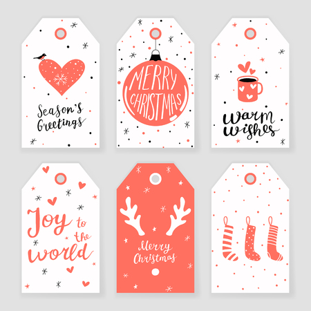 Set of 6 Christmas gift tags with hand drawn decorative elements and lettering