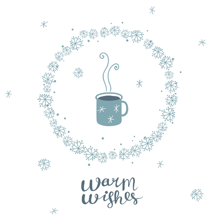 Christmas greeting card with mug with hot drink, round frame, snowflakes and hand written letters 向量圖像
