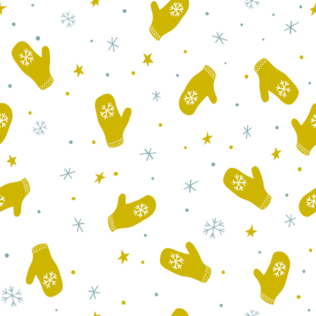 Seamless pattern with mittens, stars and snowflakes 向量圖像