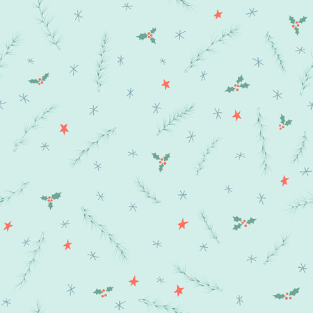 Seamless pattern with conifer branches, stars and snowflakes