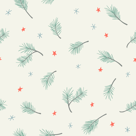 Seamless Christmas pattern with pine branches, stars and snowflakes