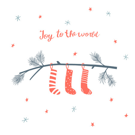 Christmas greeting card with pine branch with hanging socks and hand written lettering