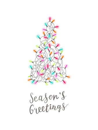 Christmas greeting card with Christmas tree made of tangled christmas lights