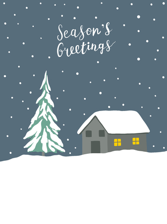 Christmas greeting card with winter landscape and hand written lettering 向量圖像