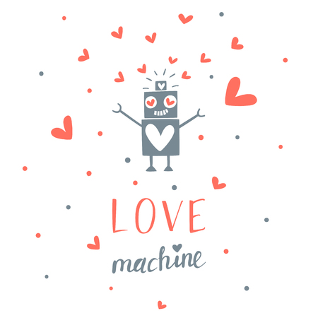 Valentine's day greeting card with robot 向量圖像