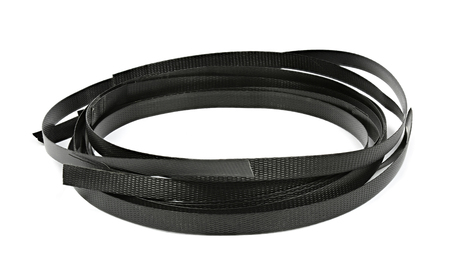 Black plastic strapping isolated on a white background