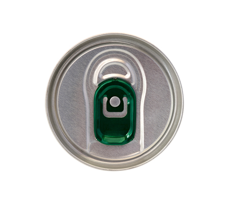 ring pull: Top view of beverage can with green ring pull isolated on white background Stock Photo