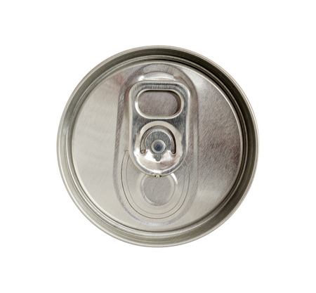 ring pull: Top view of beverage can with silver ring pull isolated on white background Stock Photo