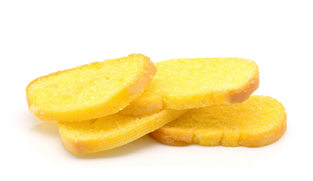 bread and butter: Crispy bread butter with sugar on white background