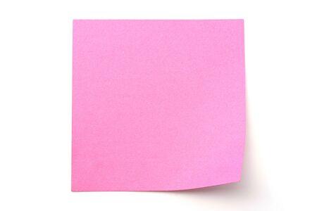 흰색 배경에 핑크색 종이 스틱 note
