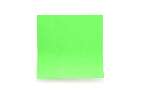 Green paper stick note with shadow on white background Stock Photo