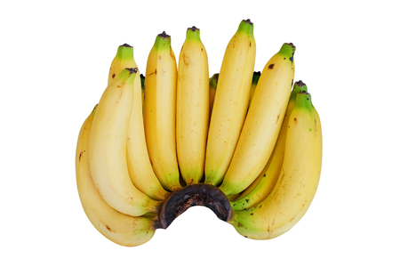 banana skin: Bunch of bananas isolated on white background with Clipping Path