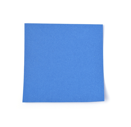 Blue post it paper note on a white background