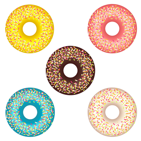Donut set with sprinkles isolated on white background