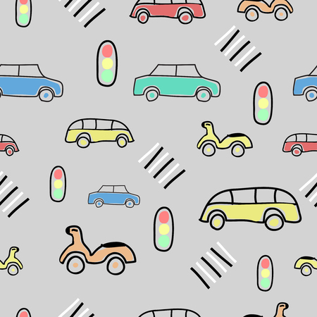 Seamless pattern with on the road elements, car, bike, bus, Traffic lights, crosswalk