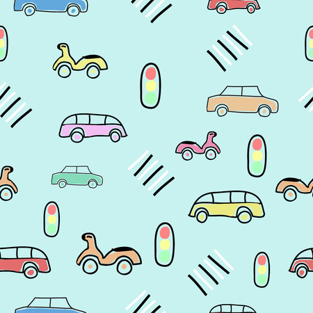 Seamless pattern with on the road elements, car, bike, bus, Traffic lights, crosswalk