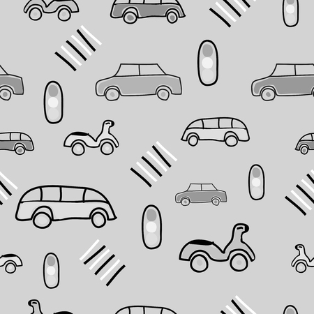 Gray seamless pattern with on the road elements, car, bike, bus, Traffic lights, crosswalk