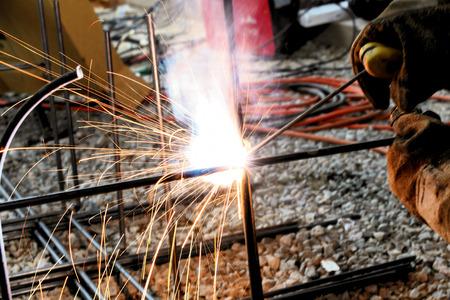 arc welding work for construction, closeup