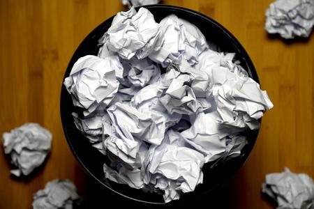 Crumpled in the trash, No idea concept 写真素材