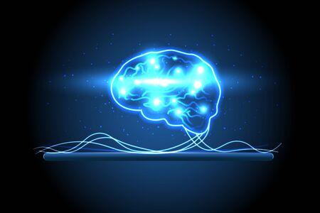 Human brain on tablet. Digital human brain. artificial intelligence virtual emulation science technology concept