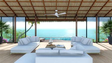 トロピカル リゾートの海ビュー リビング ルームで新しい 3 d を想像します。
