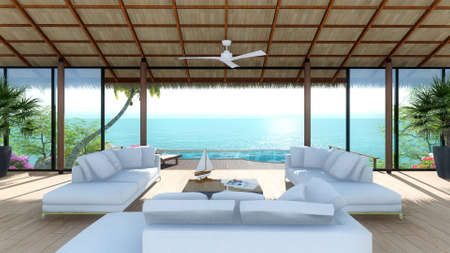 new 3 d imagine in sea view living room in tropical resort