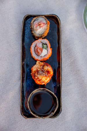 Sushi Set Close Up. Food on Picnic. Healthy food Rolls Archivio Fotografico