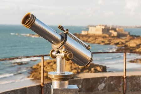 closer: Telescope and View from corsair town of Saint-Malo, Normandy, France--one of the most visited tourist sites in France