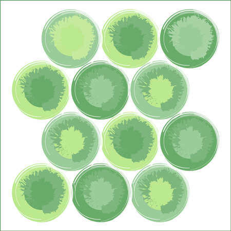 Circle shape using a green variation brush effect. The dynamic arrangement of shapes and colors is suitable for use in printed products, book covers, vinyl, textiles and many other fashion products.