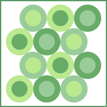 Orbs of green variation color in white frame. The dynamic arrangement of shapes and colors is suitable for use in printed products, book covers, vinyl, textiles and many other fashion products.