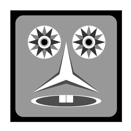 A child's ghost fantasy with a square face shape, wide round eyes, flat nose and only two teeth. Terror icon with scary shapes