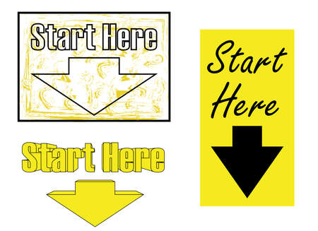 """The directions for getting started say """"Start Here"""" in a 3D embossed font style and flat design"""