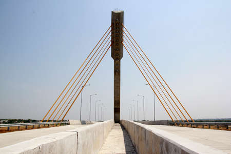 Surakarta, Indonesia, 16 September 2014. The design of a sturdy bridge construction is equipped with concrete poles on the toll road connecting Solo-Semarang Stock fotó