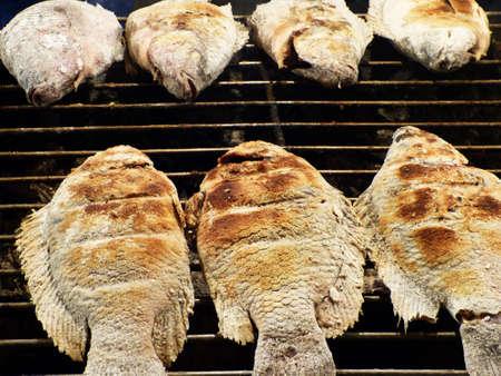 Roasted tilapia fish on grill  Stock Photo