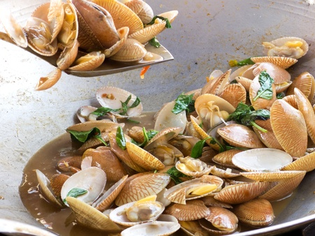 stir fried clams shell with basil leaf photo