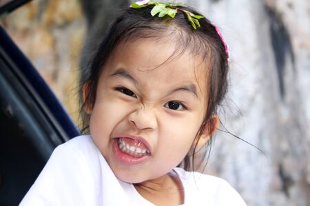 little funny girl make faces