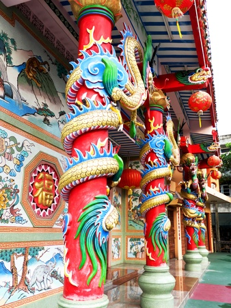 Ancient art Chinese temple frontage Stock Photo